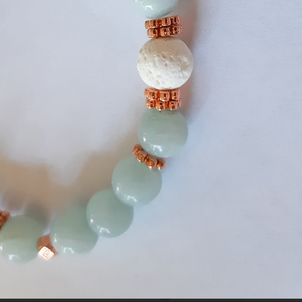 "Alice Blue ""Jade"" Diffuser Bracelet in Rose Gold (8mm gemstone)"