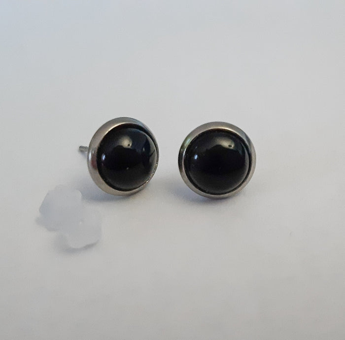 10 mm Black Onyx Stud Earrings