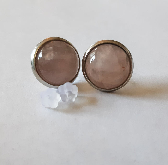 10mm Rose Quartz Stud Earrings