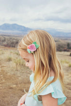Petite Felt Floral Headband: Papaya, Dusty Blue, Sunshine Yellow