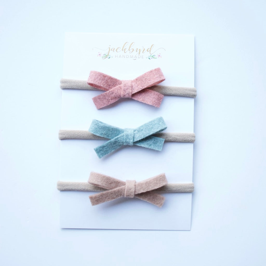 Schoolgirl Bow Set: Rosewood, Rainstorm, Rosy Brown