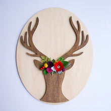 Holiday Floral Deer Bust Mounted Oval Sign