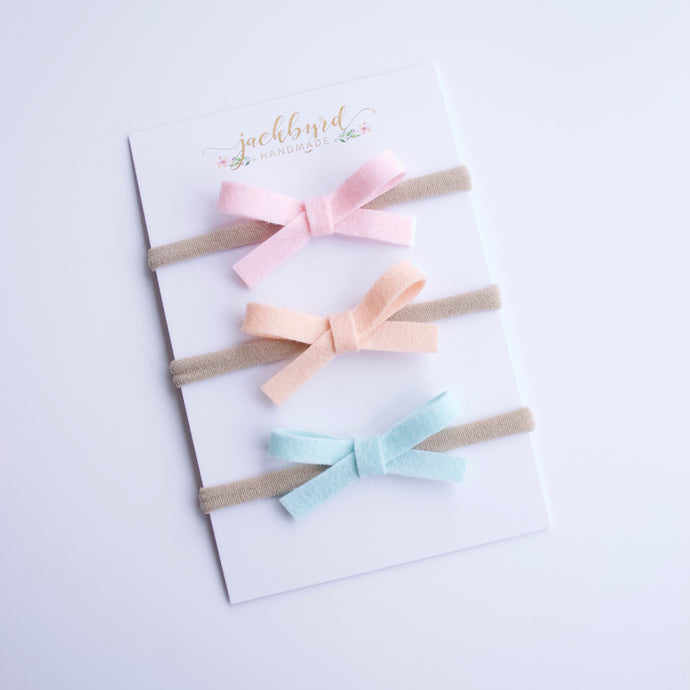 Schoolgirl Bow Set: Pink, Peach, Icy Mint