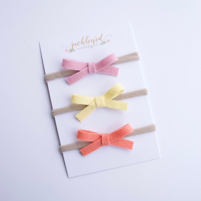 Schoolgirl Summer Bows: Lilac, Pineapple, Papaya