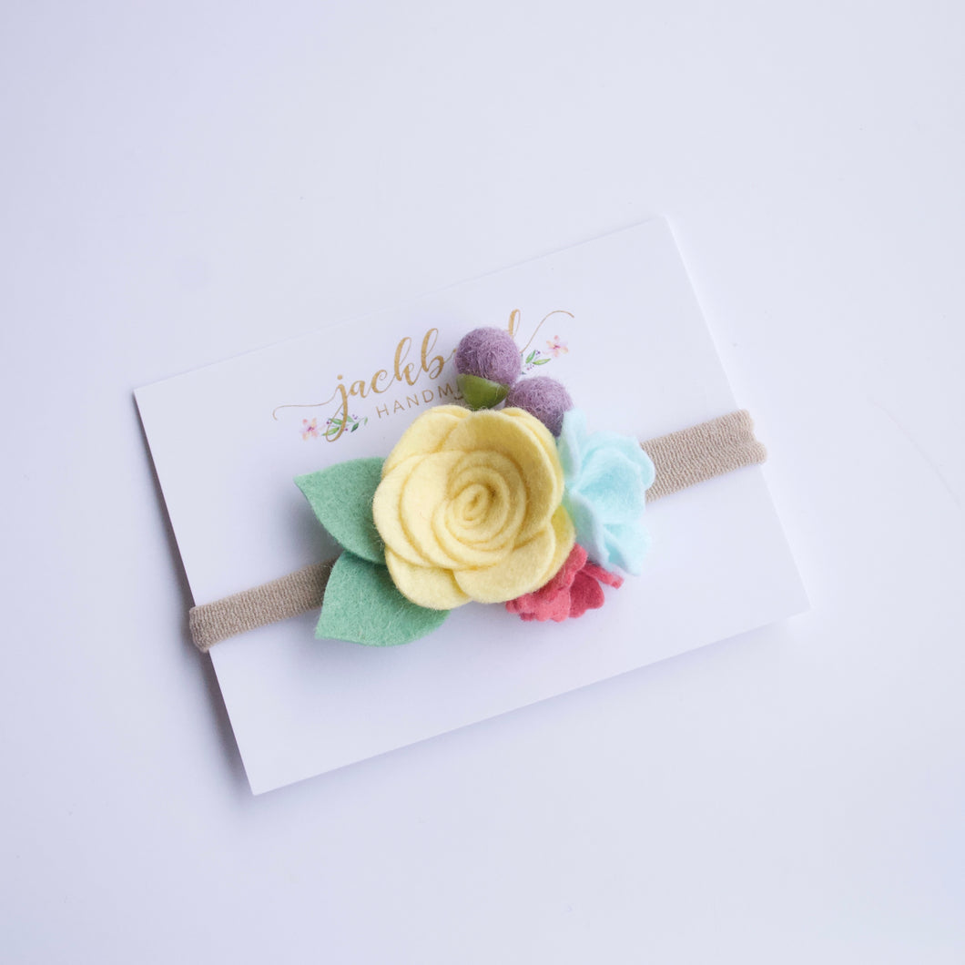 WS Spring Petite Felt Floral Headband: Sunshine Yellow, Rose, Purple, Icy Mint