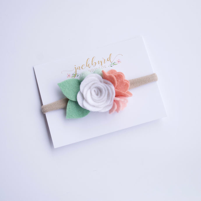 Spring Petite Felt Floral Headband: White, Grapefruit, Blush, Mint