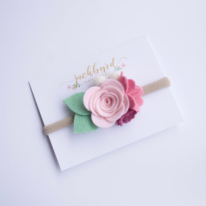 Petite Felt Floral Headband: Light Pink, Rose, Mulberry