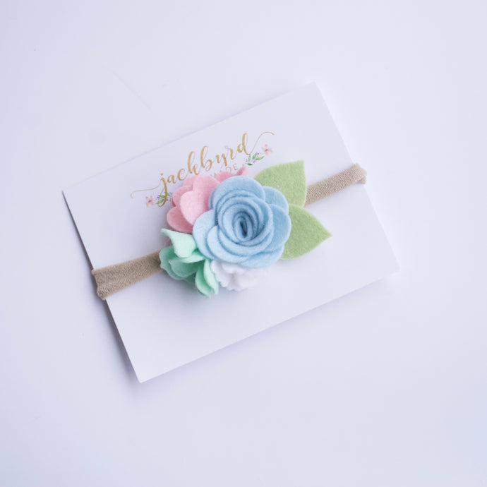 Petite Felt Floral Headband: Light Blue, White, Pink, Mint