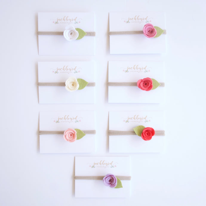 Petite Rose + Fern Green Leaf Felt Flower Headband