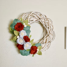 Felt Floral Holiday White Willow Wreath