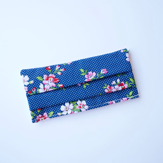 Blue Polka Dot Floral Reversible Face Mask