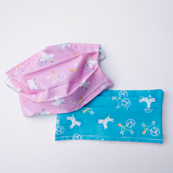 Pink + Blue Unicorns in Space Reversible Face Mask