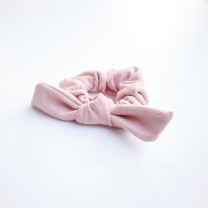 Dusty Pink Suede Bow Scrunchie