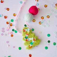 Sequin Christmas Tree Woollie Ball Felt Necklace