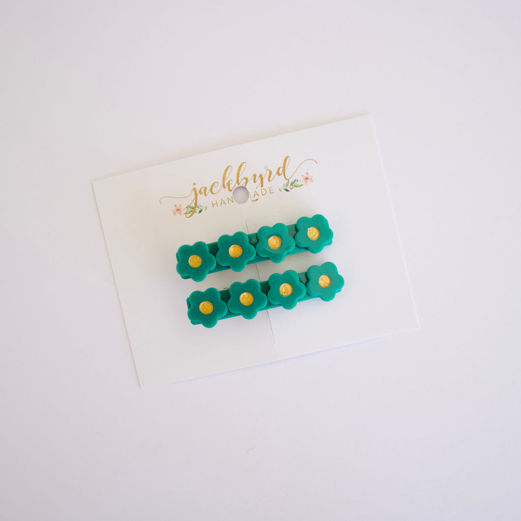 Emerald Floral Clip Set