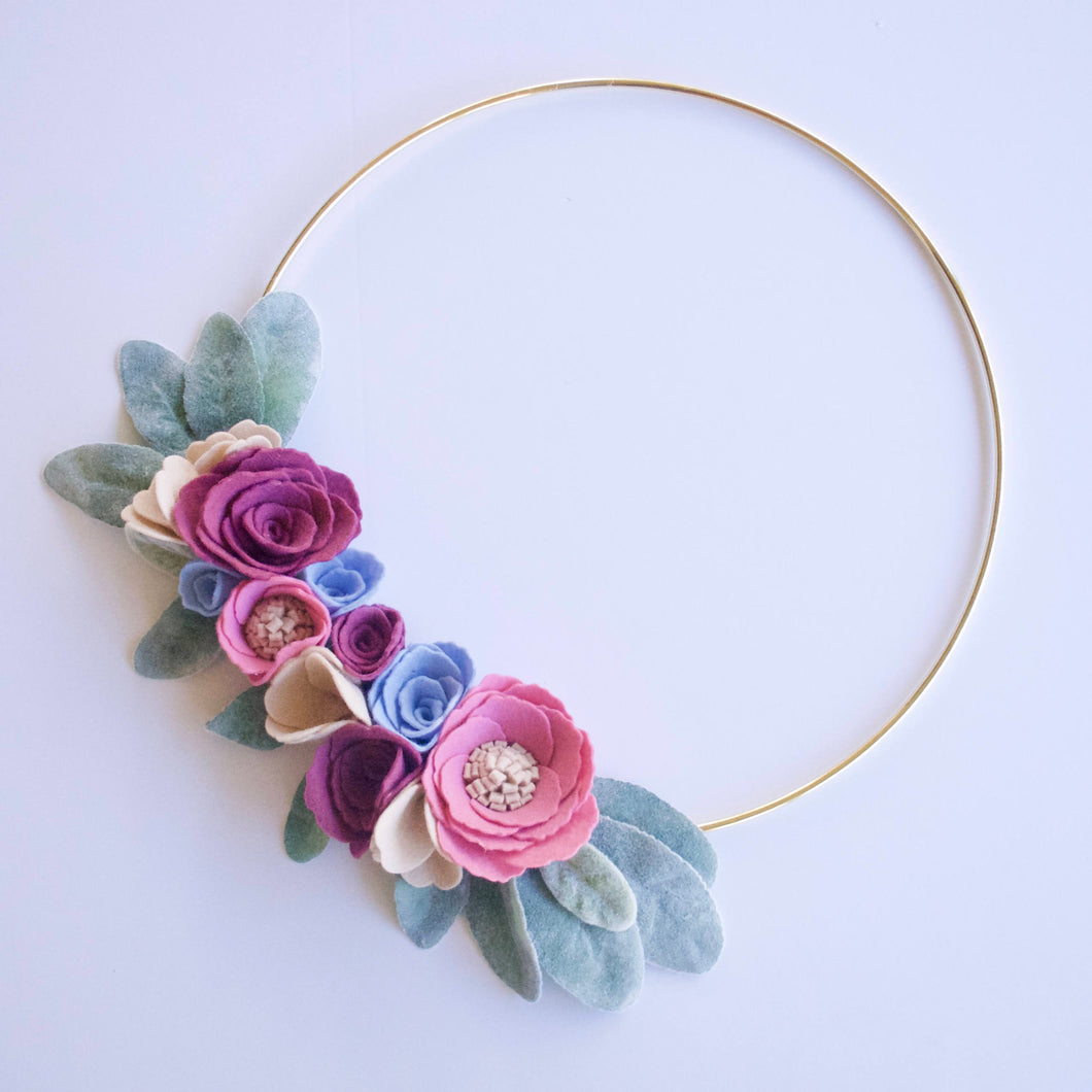 Dusty Lambs Ear Felt Floral Gold Hoop Wreath