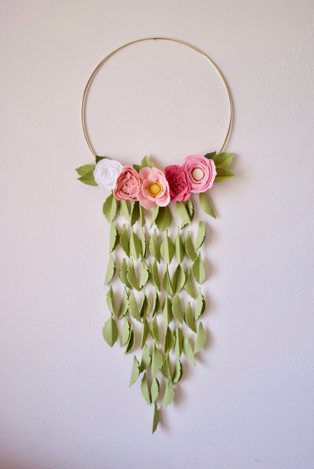 Handmade Rose Felt Floral Gold Hoop Wreath