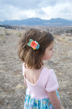 Spring Petite Felt Floral Headband: papaya, dusty blue, sunshine yellow