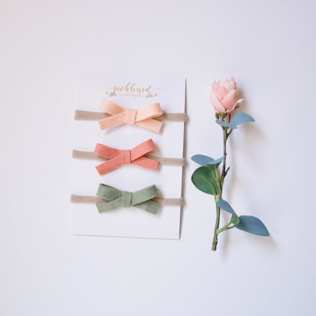 Schoolgirl Bow 3 Pack: peach, grapefruit, sage