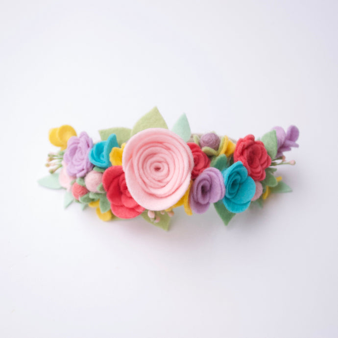 Rainbow Full Floral Crown / Handmade Flower Crown / Rainbow Baby / Bright Spring Headband / Easter Hair Accessory / St. Patty's Day