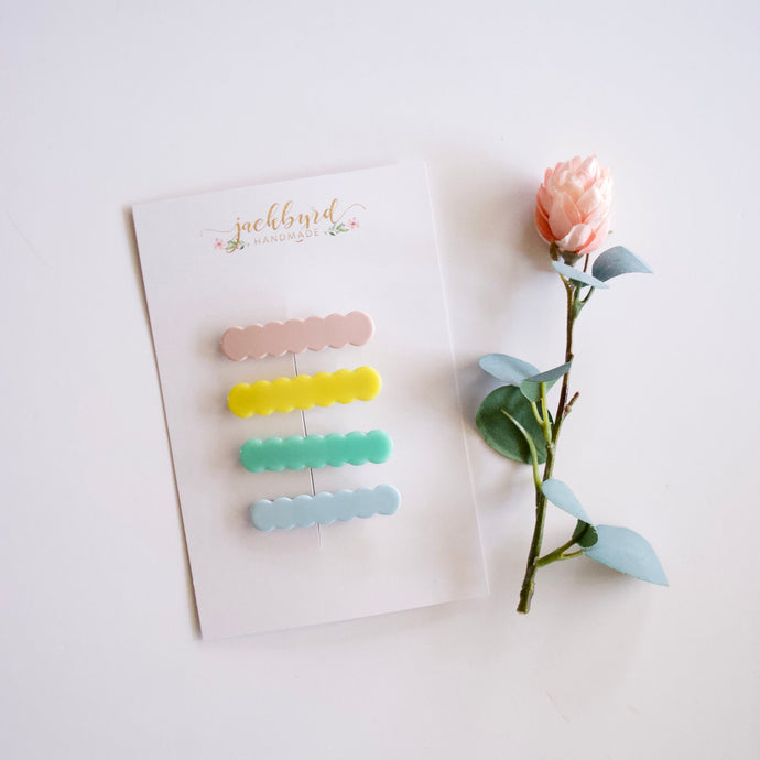 Pastel Scalloped Clip Set