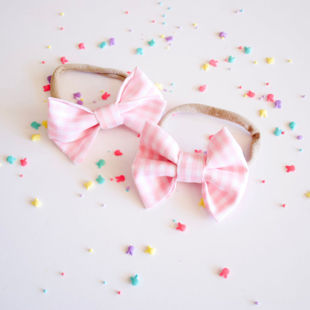 Pink Easter Gingham Pastel Bow
