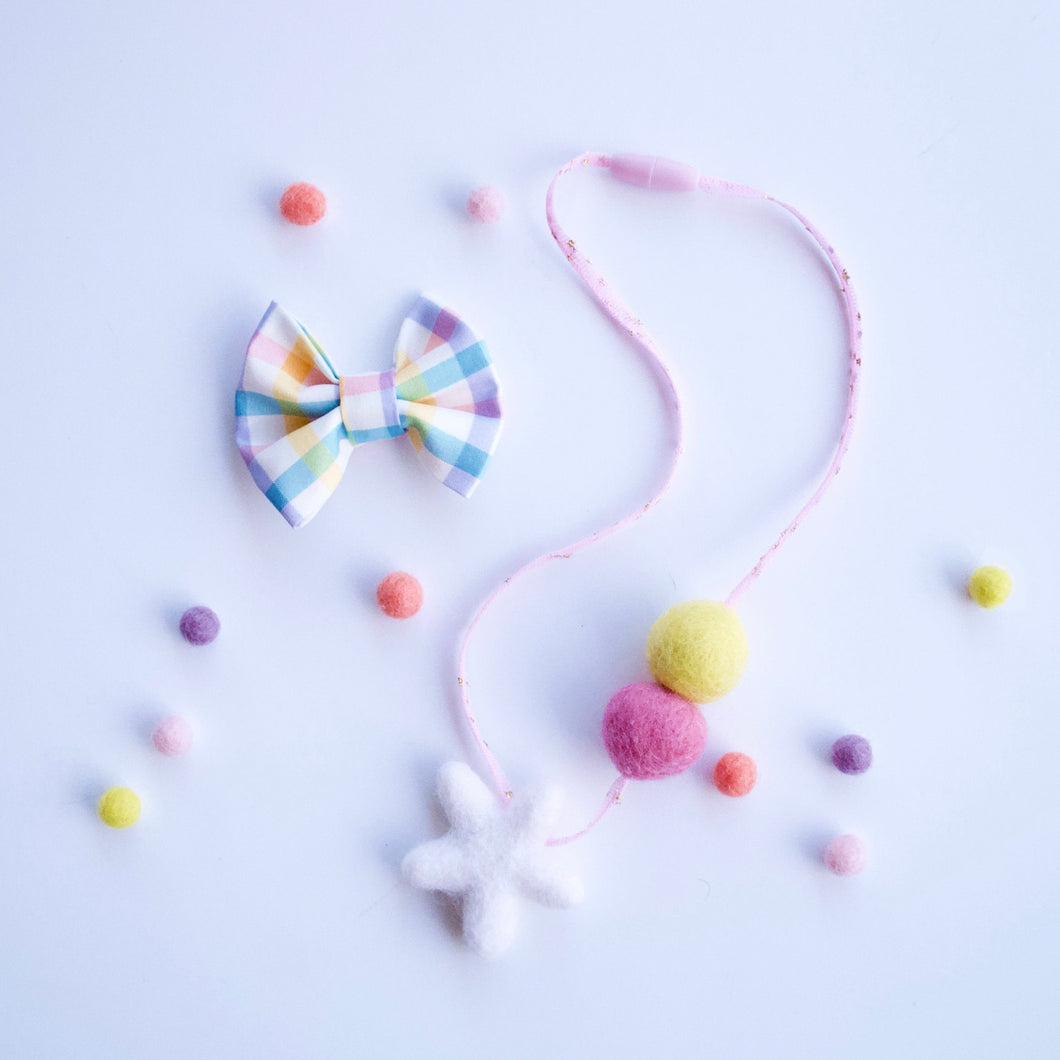 Woollie Ball Felt Star Spring Necklace - Pink, Yellow Star Kids Tulle Necklace - Easter Girls Pink Tulle Felt Ball Necklace