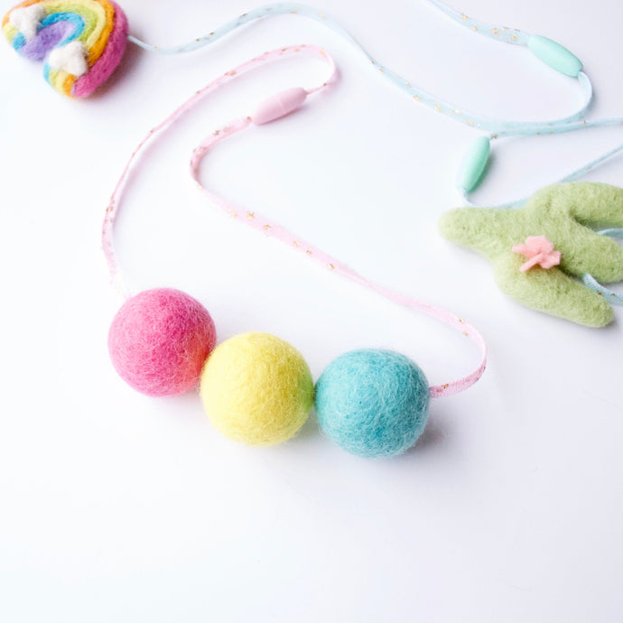 Woollie Ball Spring Necklace - Pastel Felt Kids Tulle Necklace - Easter Girls Pink Tulle Felt Ball Necklace