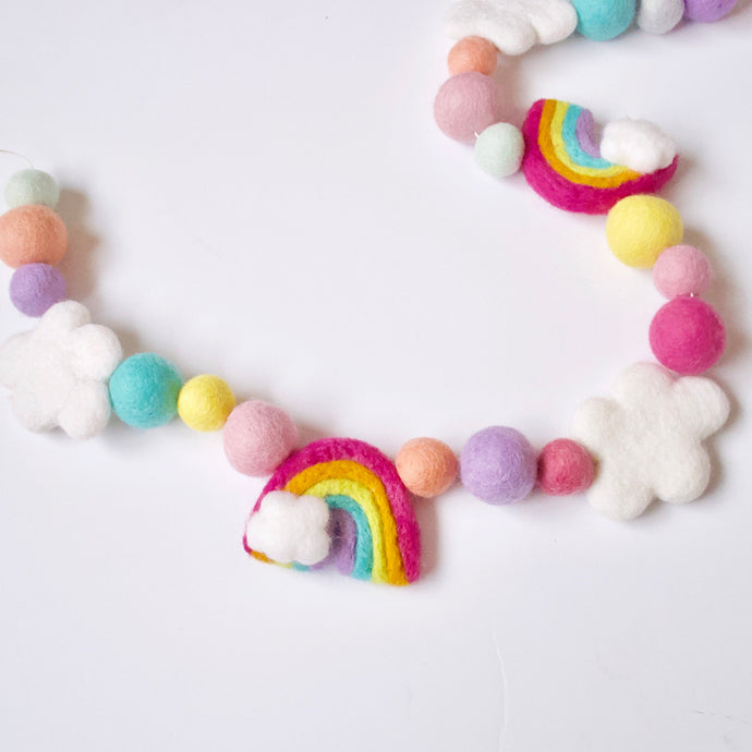 Large Felt Rainbow + White Clouds Pastel Garland