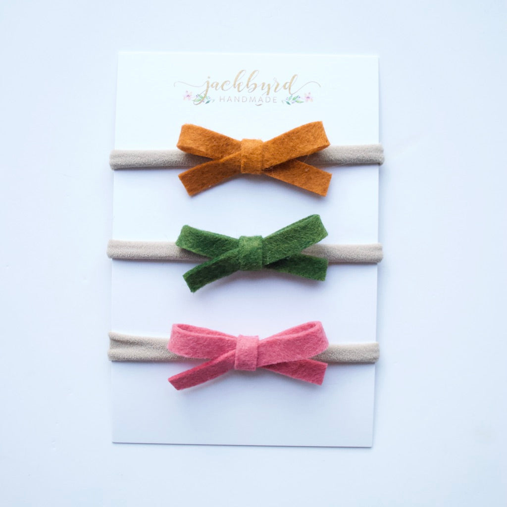 Schoolgirl Bow Set: Pumpkin, Meadow, Rose