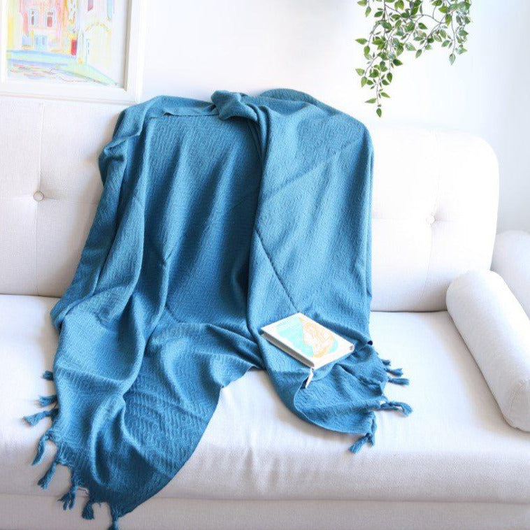 KARIA Handwoven Cotton Throw Petrol on Petrol - anatolico