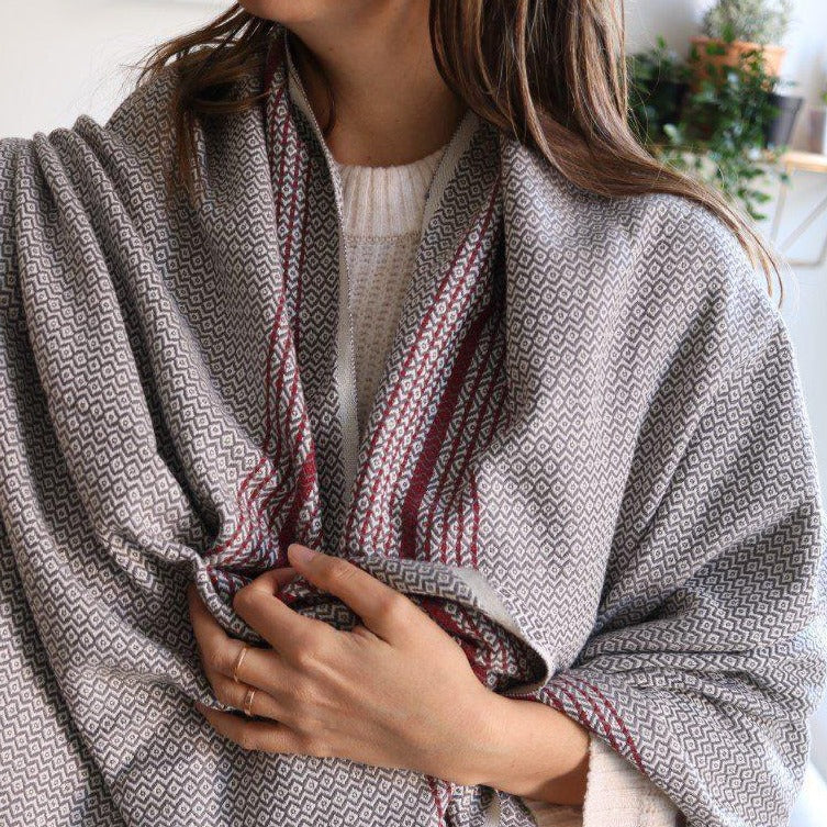 MATIA Handwoven Blanket Scarf Gray - anatolico