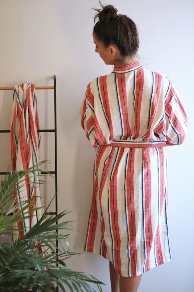 ANEMONE Handwoven Robe-Robe-Anatoli.co-Small-Coral-Anatoli.co