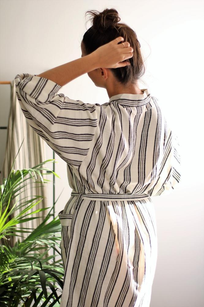BROOKLYN Handwoven Robe-Robe-Anatoli.co-Small-Black and white-Anatoli.co