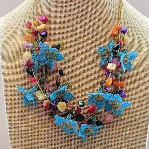 DALIA Crochet Necklace Blue - anatolico