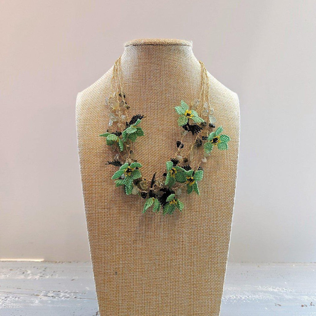 DALIA Crochet Necklace Green - anatolico