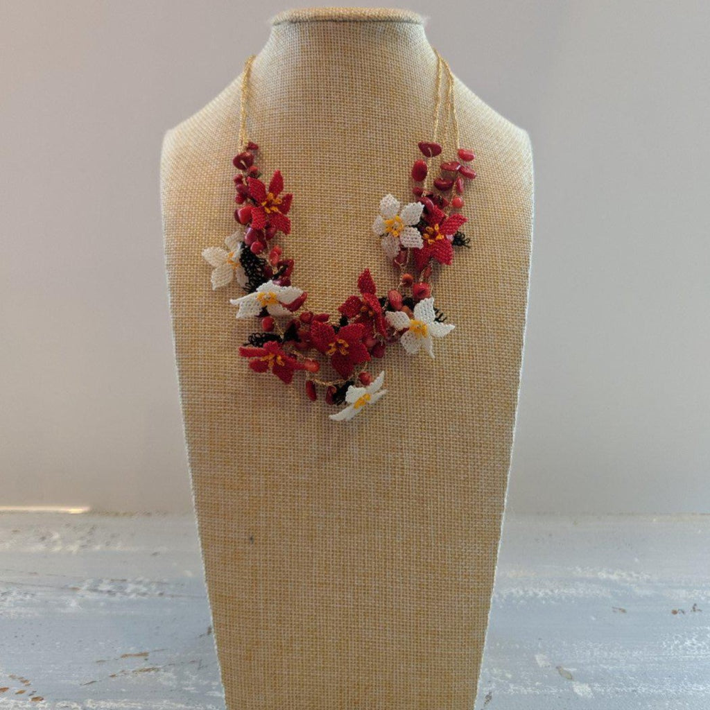 DALIA Crochet Necklace Red - anatolico