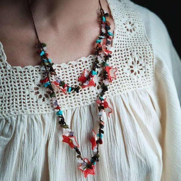DALIA Crochet Necklace (two strands) - anatolico