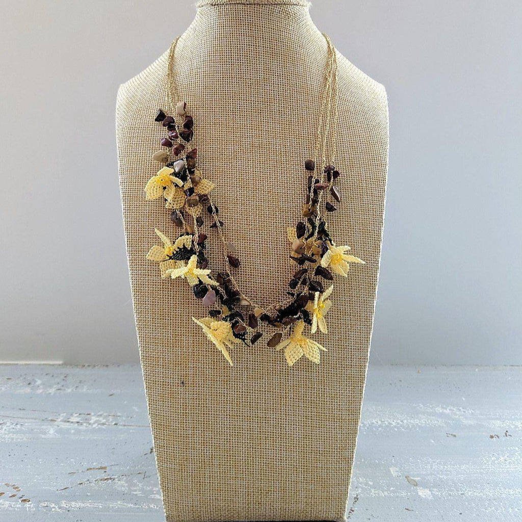 DALIA Crochet Necklace Yellow - anatolico