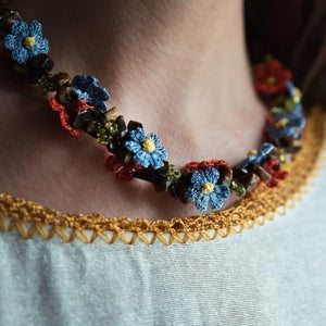 FLORA Handmade Necklace-Accessories-Anatoli.co-Light blue - Orange-Anatoli.co