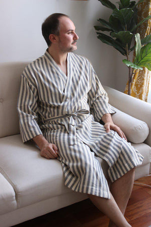 GRAY Handwoven Robe-Robe-Anatoli.co-Anatoli.co