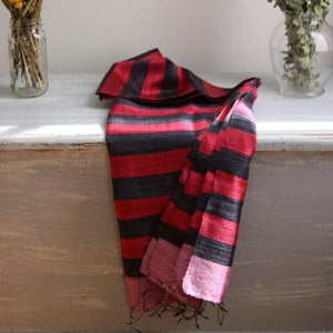 IRIS Silk Scarf-Scarf-Anatoli.co-Red and black stripes-Anatoli.co