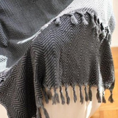 KARIA Handwoven Cotton Throw Black on Gray - anatolico