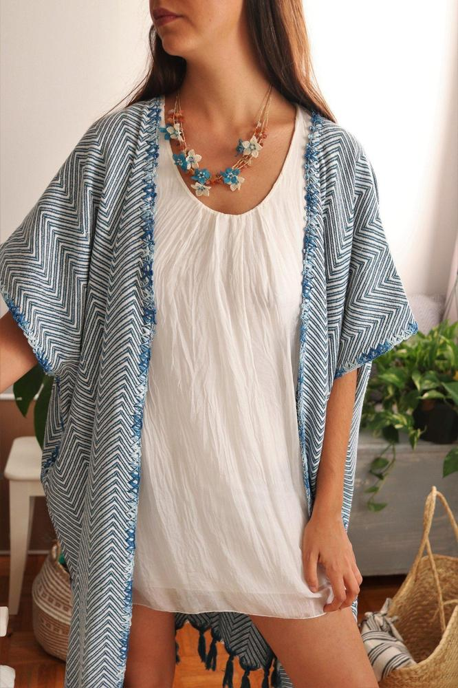 KARIA Kaftan White on Petrol - anatolico