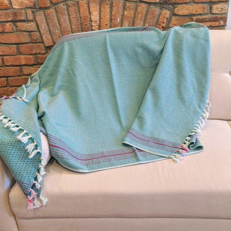 MATIA Handwoven Blanket Scarf Green - anatolico