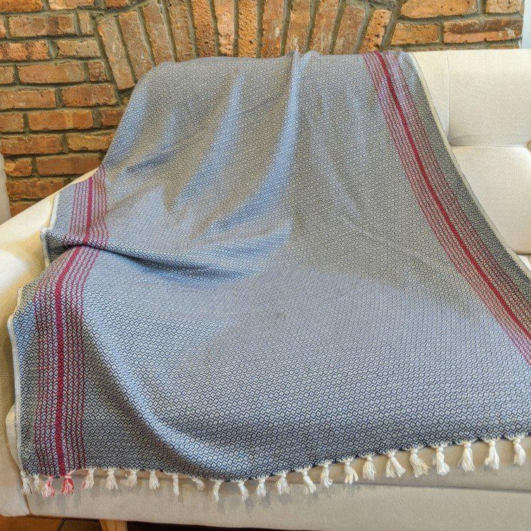 MATIA Handwoven Blanket Scarf Navy - anatolico