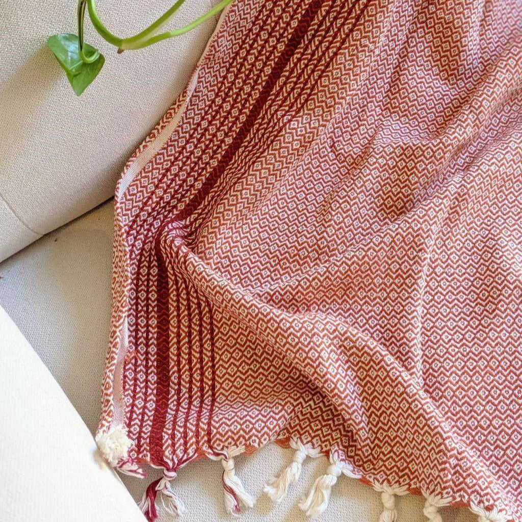 MATIA Handwoven Blanket Scarf Red - anatolico
