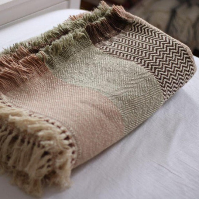 SAHARA Handwoven Silk and Wool Blanket - anatolico