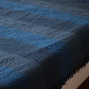 SAHARA Handwoven Silk and Wool Blanket-Blanket-Anatoli.co-Blue-Anatoli.co