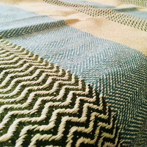 SAHARA Handwoven Silk and Wool Blanket-Blanket-Anatoli.co-Blue, green and tan-Anatoli.co